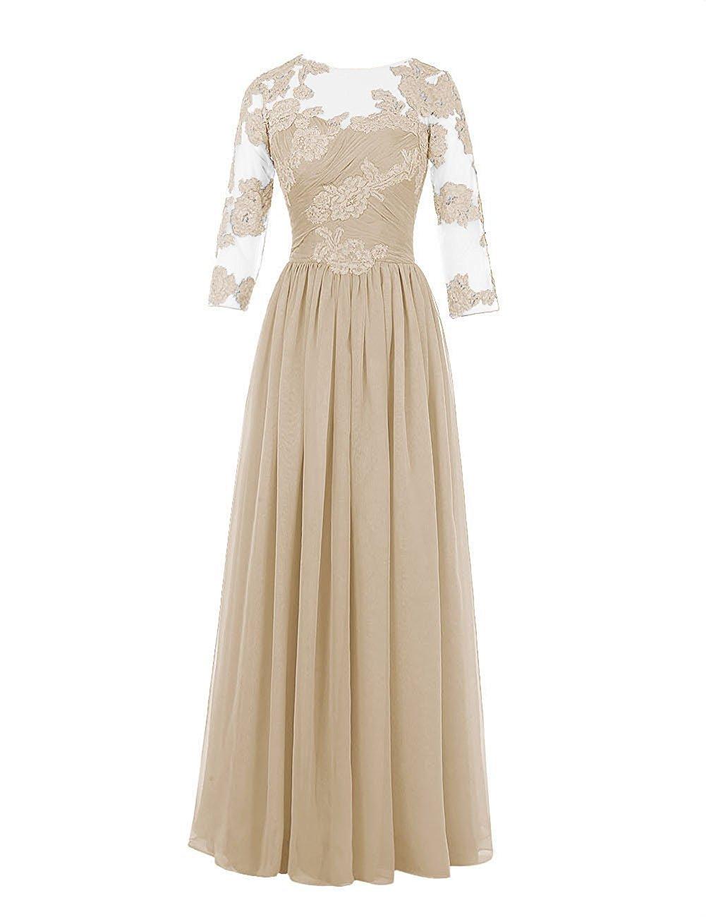 ThaliaDress Women Elegant Sheer Sleeves Evening Prom Dress T232LF Champagne US18W