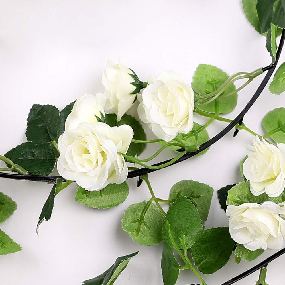 Veryhome 2Pcs 69 Heads 5.7FT Artificial Rose Vine Silk Fake ...