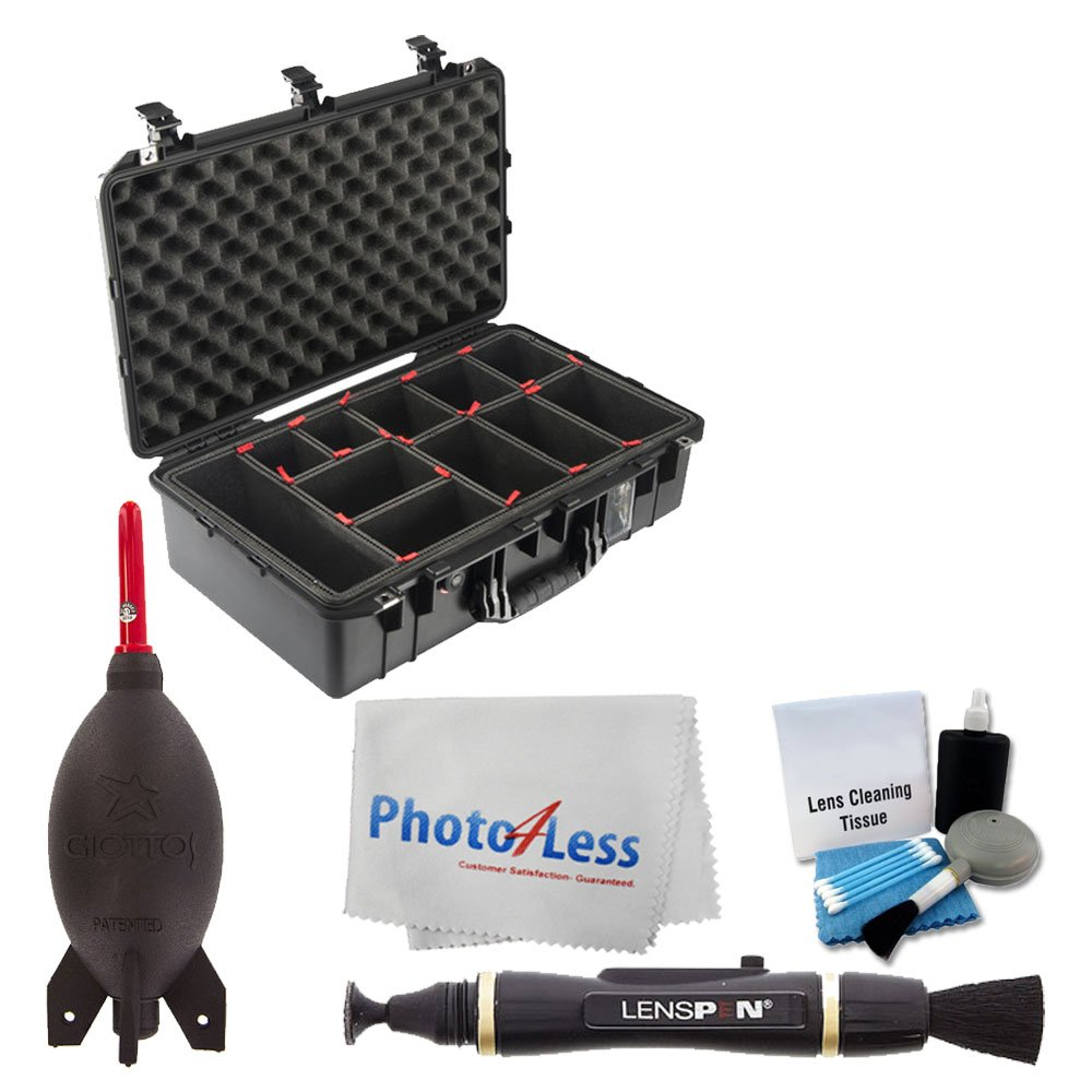 Pelican 1555 AirTP Carry-On Case (Black, with TrekPak Insert) + Giottos AA1900 Rocket Air Blaster + Cleaning Pen + 5 Piece Cleaning Kit + Photo4Less Cleaning Cloth - Ultimate Accessory Bundle