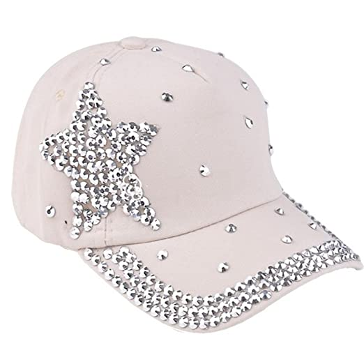 6ae004345fc1d Gotd Baseball Cap Rhinestone Star Shaped Boy Girls Snapback Hat Dance Caps  (Beige)