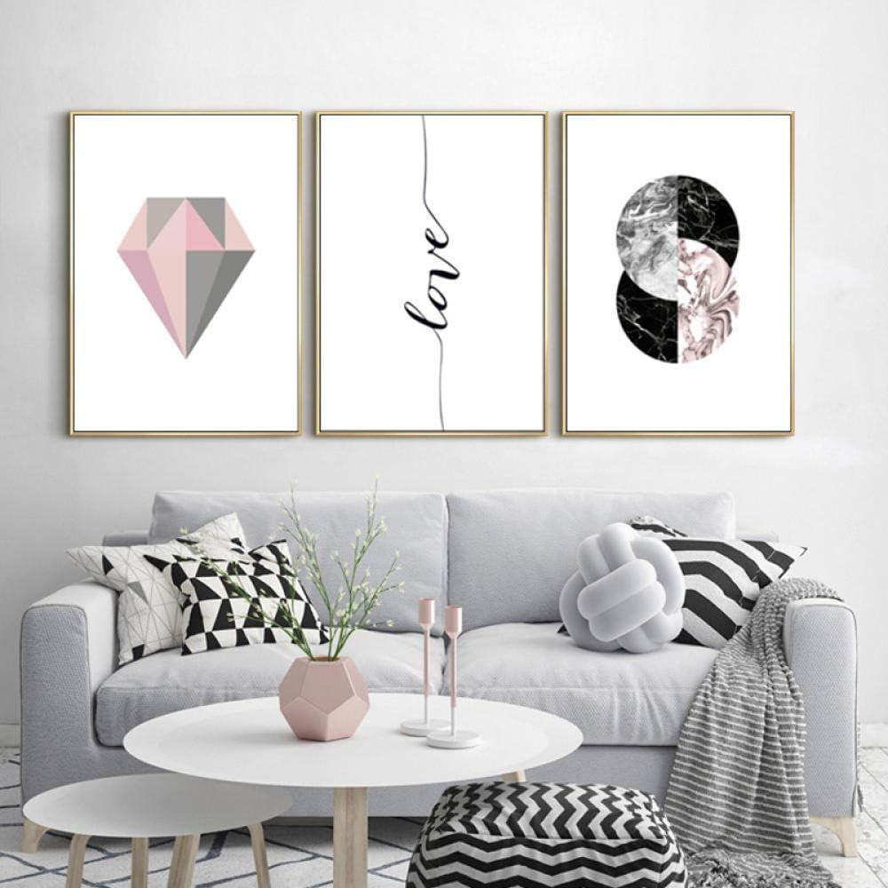 SHINERING Moderno Abstracto Rosa Gris Geometría Diamante Lienzo Pinturas Amor Arte de la Pared Cuadros Impresiones Sala de Estar Decoración Sin Marco