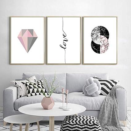 Moderne Abstrait Rose Gris Geometrie Diamant Toile Peintures