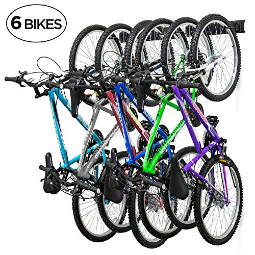 RaxGo Garage Bike Rack, Wall Mounted Bicycle Storage Hanger, 6 Adjustable Hooks Universal for Indoor & Home Use