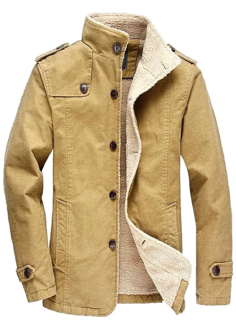Jmwss QD Mens Slim Thick Winter Warm Single Breasted Fleece Coat Jackets