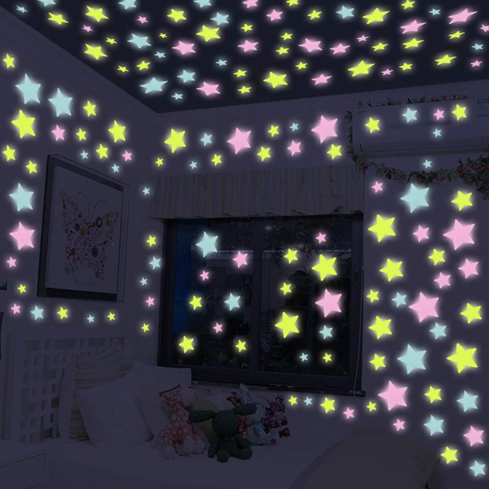 Wall Stickers, QHJ Kids Bedroom Fluorescent Glow In The Dark Stars Wall Stickers 20PC