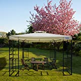 Quictent 10x10 Metal Gazebo Canopy Soft Top Pergola Grill Gazebo for Patio,Garden and Backyard Waterproof Vented Roof (Beige)
