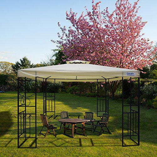 Quictent 10x10 Garden Gazebo Canopy Metal Soft Top Pergola for Patio,Garden and Backyard Waterproof Roof Vented (Beige)