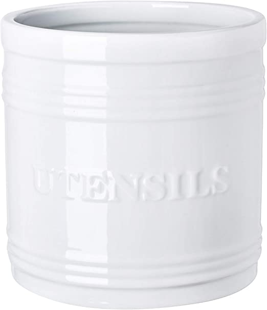 Amazon Com Porcelain Utensil Crock Holder Large Size For Kitchen Storage White Kitchen Dining