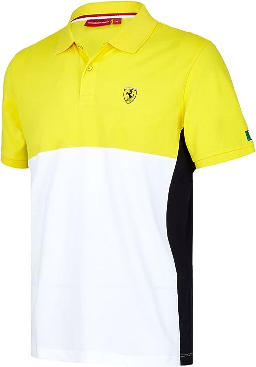 2017 Scuderia Ferrari F1 Fórmula un Equipo Camisa de Cortar y Coser Polo para Hombre, Amarillo: Amazon.es: Deportes y aire libre