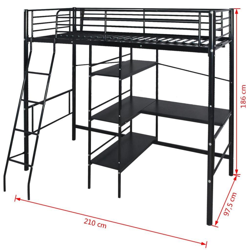 Senluowx Lit Surélevé Bureau En Métal 200 X 90 Cm Noir
