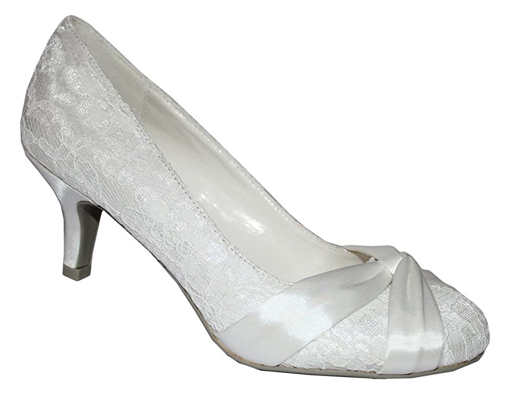 Absolutely Gorgeous Boutique New Ivory Lace Satin Wedding Bridal Low Mid Heel Court Pump Shoes Uk Sizes 3 8