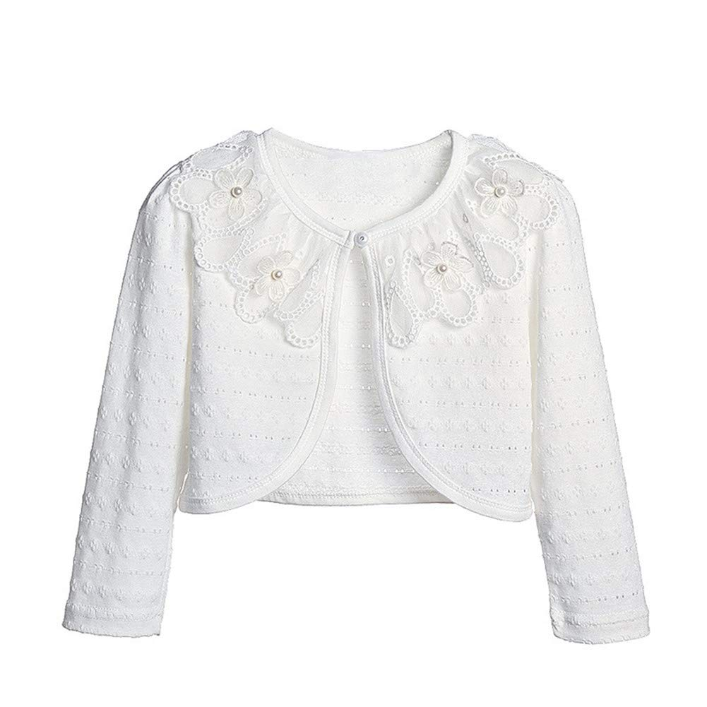 Sinmoocy Girls Long Sleeve Lace Bolero Shrug for Dress Kids Hollow Cardigan for Bridesmaids Flower Girls Size 6