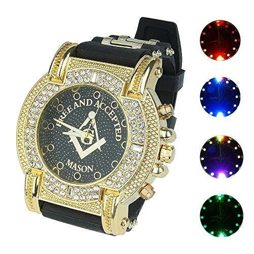 Black Diamond Dial Watch (Gerosse Luminous Gold Watches for Men, Masonic Classic Men's Luxury Watch Crystal Diamond Dial Quartz Wrist Watch, Big Face Hip Hop Watch (Black Dial))