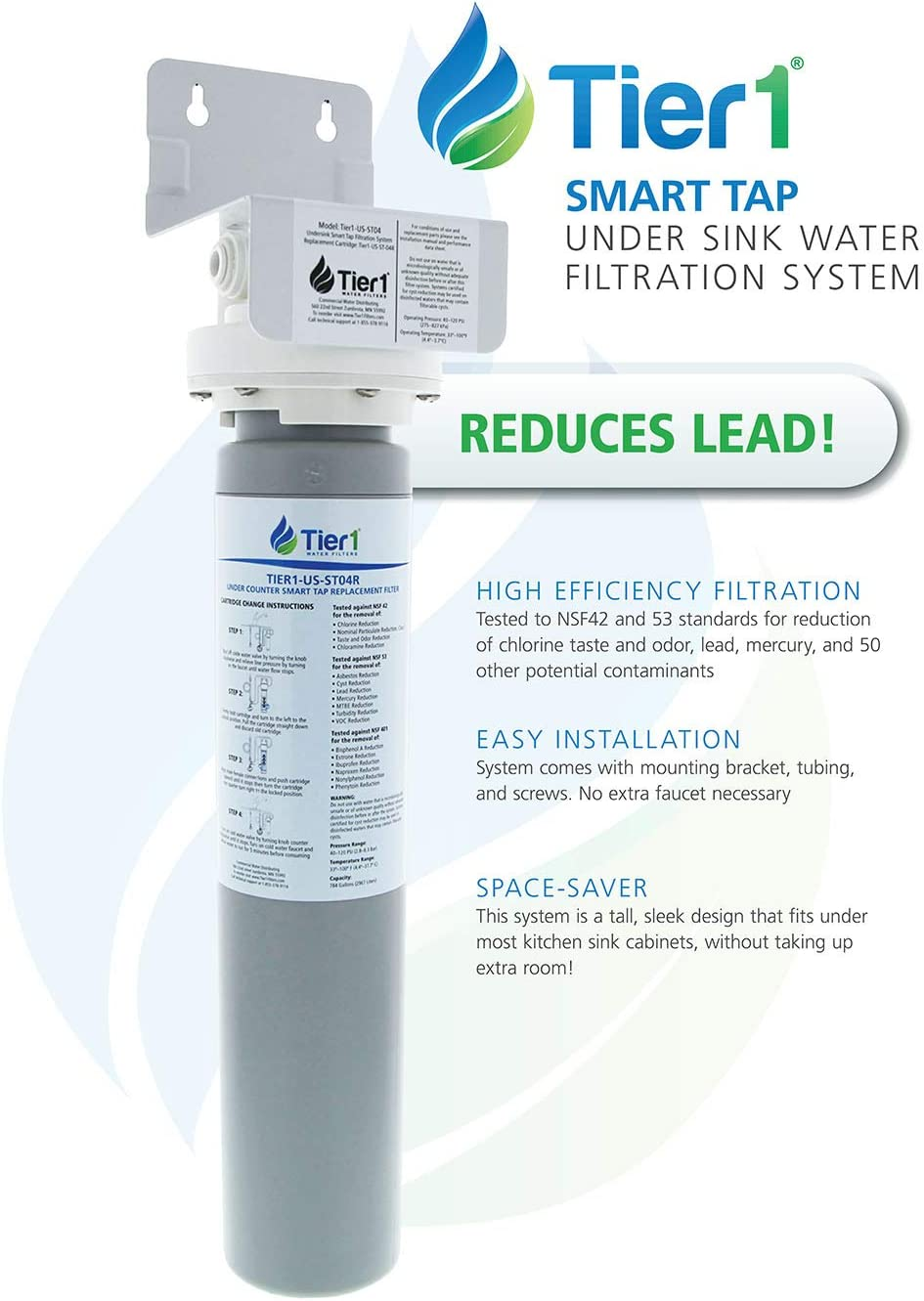 for Tier1 Under Sink Drinking Water Filtration System Mer reduces Chlorine Lead