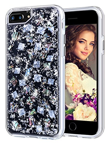 """Coolden Case for iPhone 7/8 Plus, Luxury Glitter Case with Shells Foil Cute Girly Durable Shockproof 2-Layers Solid PC Cover Case + Flexible TPU Frame for for iPhone 6/6s/7/8 Plus 5.5"""", Silver Shell"""
