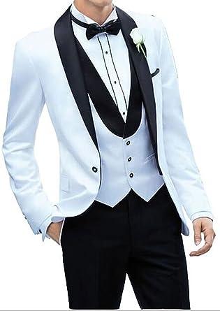 58b5a0550152 Lilis® Herren Weiß One Button Herren Anzug Schalkragen Slim Fit 3 Stück  Blazer  Amazon.de  Bekleidung