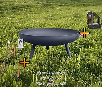 Brasero XXXL aprox. 100 cm para barbacoa, camping, Jardín hoguera, acero ligero y forma estable, con pies redondos, y 2 asas, grande 55 cm, con cubiertos y cepillo de limpieza, Brasero Brasero