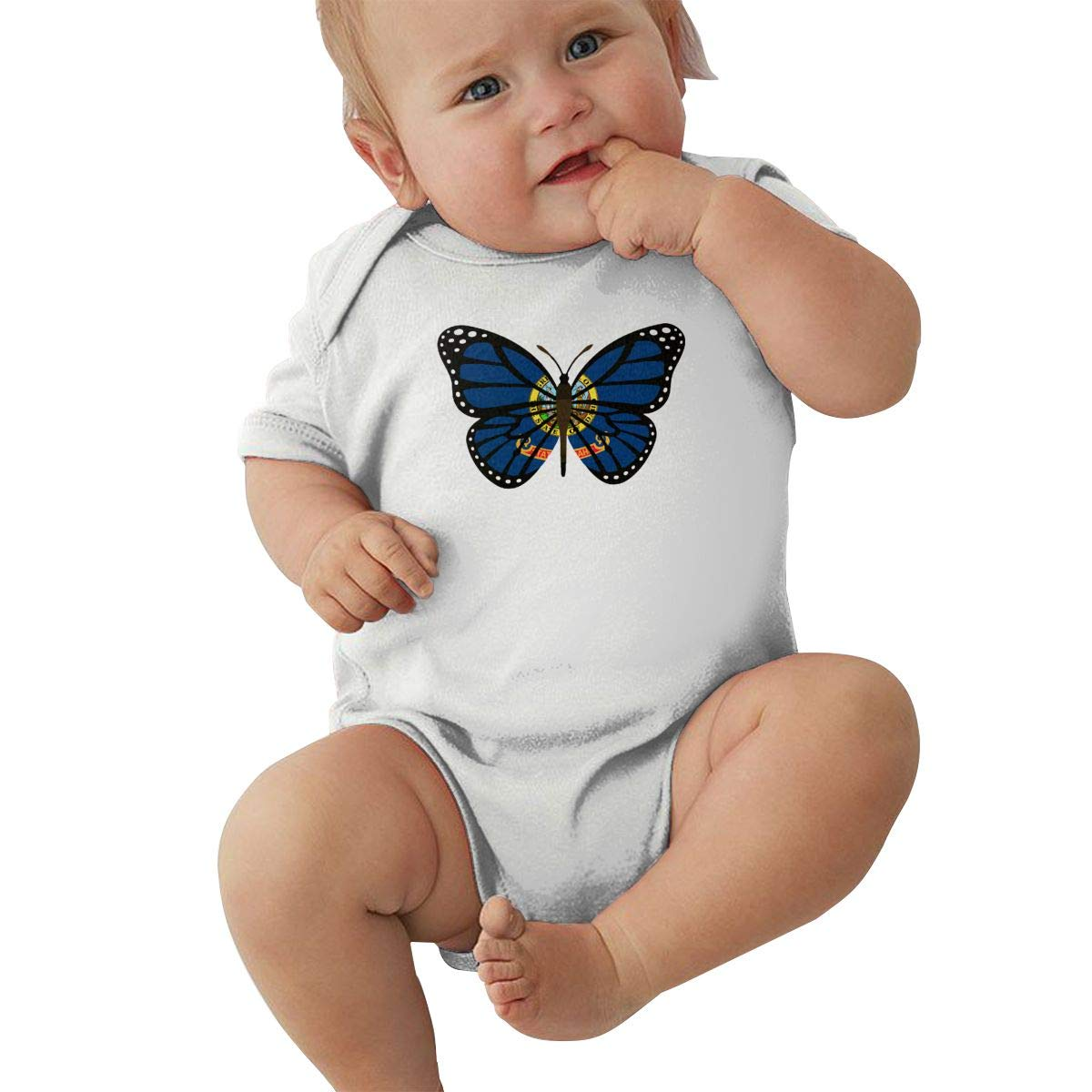 Mri-le2 Infant Short Sleeve Organic Bodysuits ButterFlag Idaho State Flag Toddler Clothes