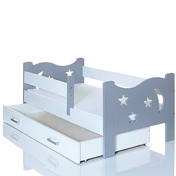 Kinderbett weiß mit schubladen  LCP Kids Kinderbett 140x70 cm Junior und Jugendbett Holz in grau ...