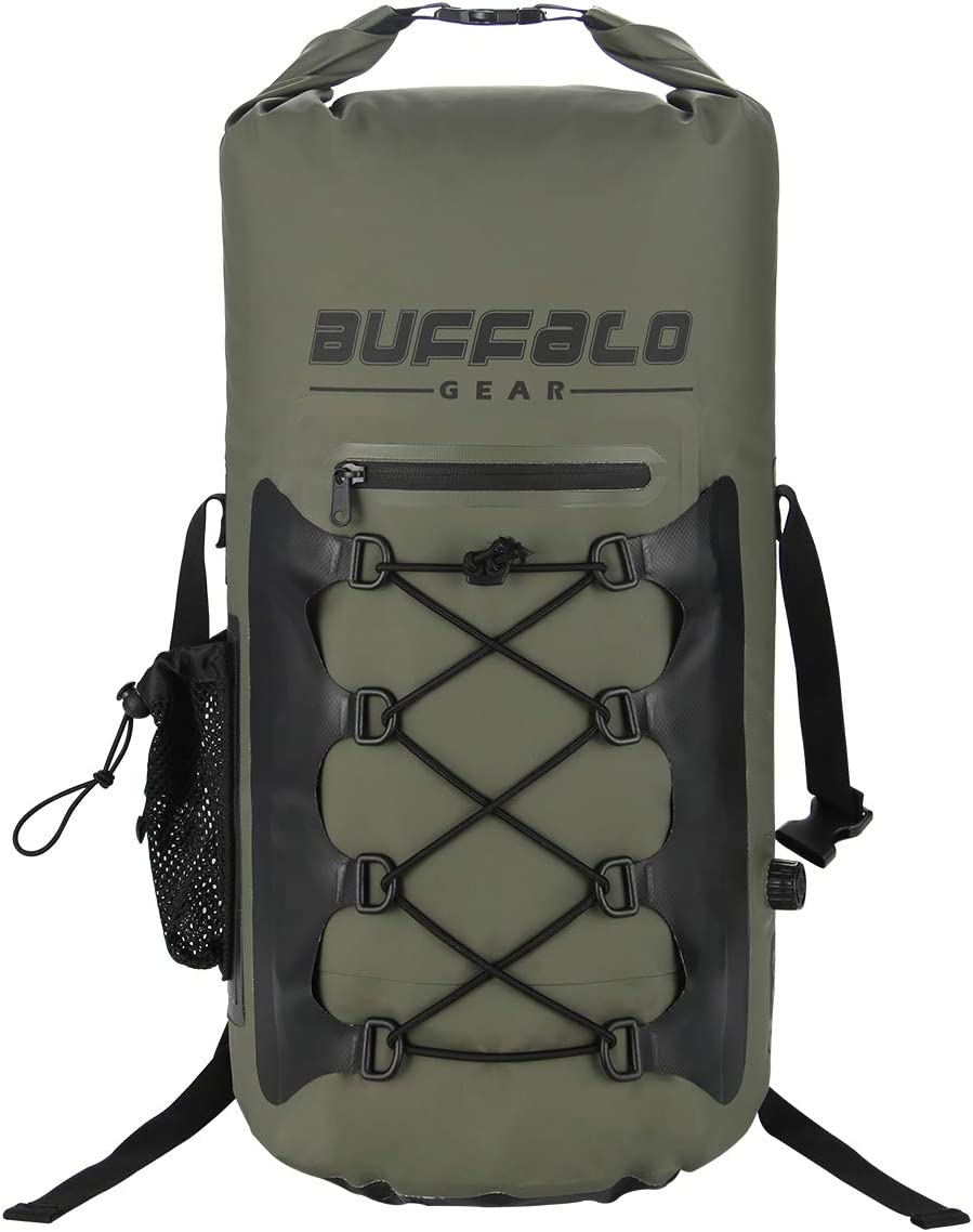 Waterproof and Soft-Sided Cooler Backpack for Hiking Buffalo Gear Portable Insulated Backpack Cooler Bag 20 Can Black 15 Liters Picnics,Camping Fishing Hands-Free and Collapsible