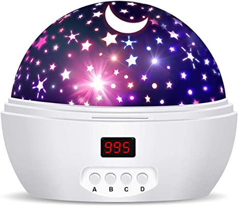 Star Rotating LED Light Projector Starry Moon Sky Baby Night Mood Lamp Kids Gift