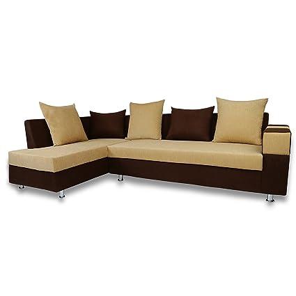 Adorn India Adillac 5 Seater Corner Sofa(Left Side Handle)(Brown & Beige)