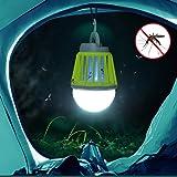 HPPFOTRS Outdoors Mosquito Killer Lamp Camping Insektenvernichter LED Birne Mückenfalle Draußen Portable Moskito Insekten Vernichter Fliegenfänger Camping Zelt USB Wasserdichte Dimmbar Lampe Schwarz
