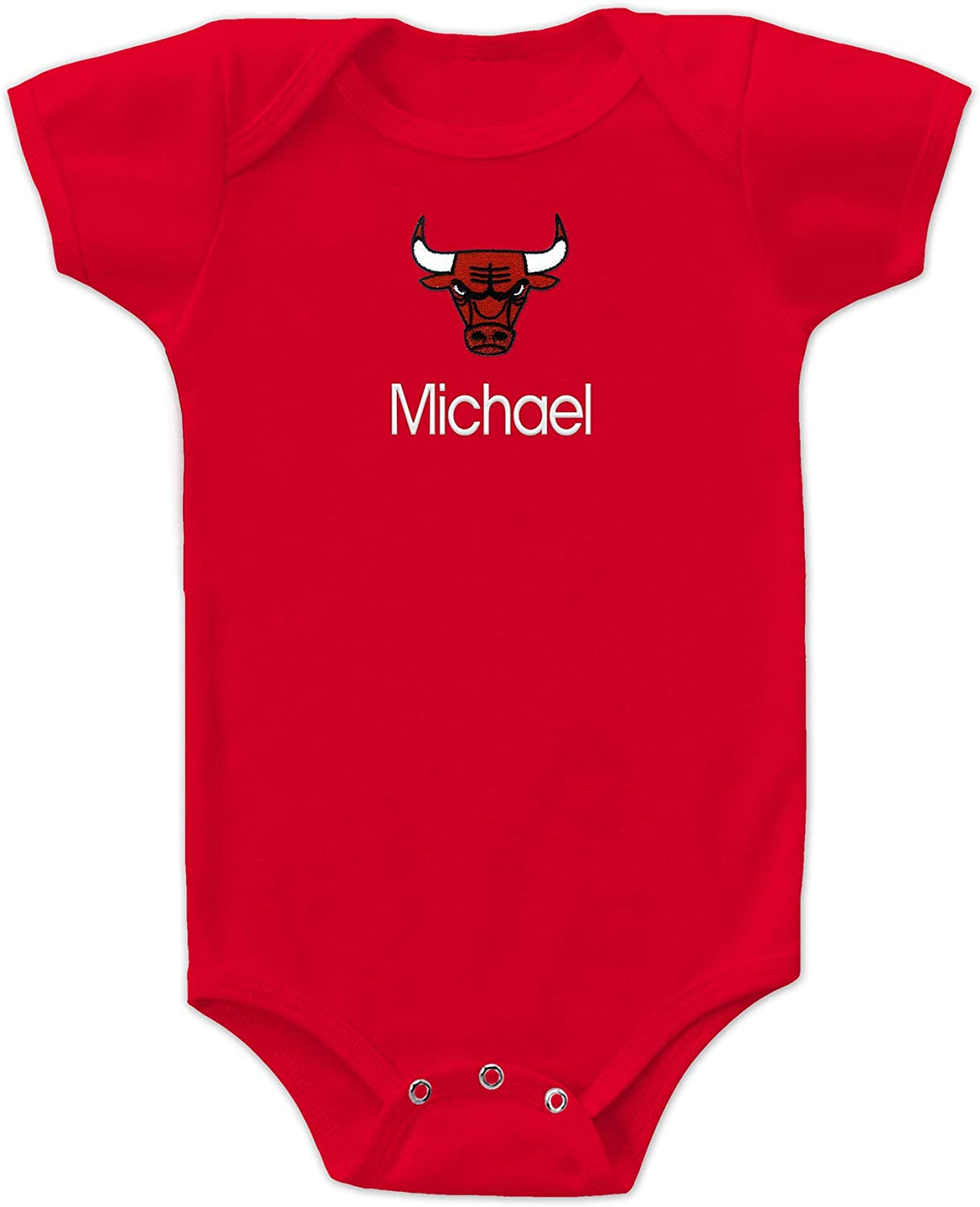 Chicago Bulls Custom Baby Bodysuit - Personalized Baby Name Embroidery
