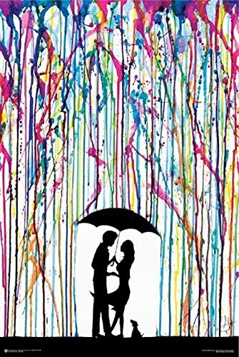 Buyartforless Two Step  Couple Dancing Under Umbrella by Marc Allante 36x24 Art Print Poster