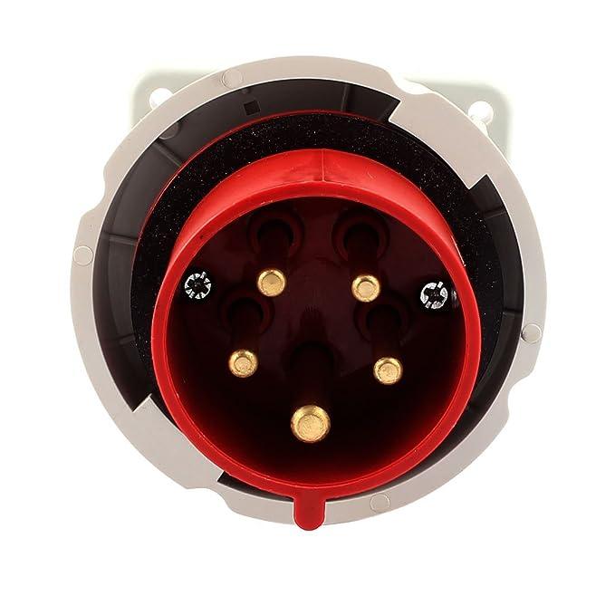 Amazon.com: eDealMax Panel Industrial AC 240V-415V 32A IP67 3P + N + E 5 Terminal Macho de montaje Plug: Electronics