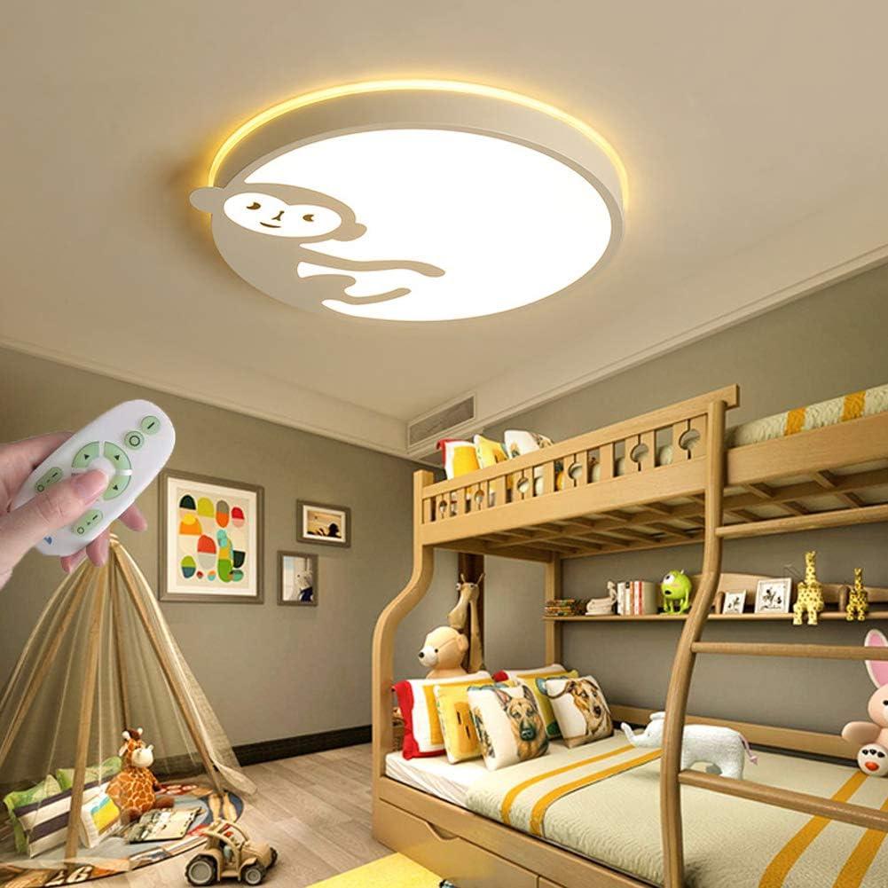 Mädchen Jungen Baby Kinder Zimmer Lampe Deckenleuchten Mit Fernbedienung Kreative AFFE Tier Acryl Lampenschirm,Grau,45cm//17.7in WANG-LIGHT Cartoon LED Schlafzimmer Dimmbar Deckenlampe