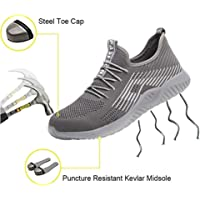 Safety Shoes, Steel Toe Cap Trainers Mens Womens Safety Shoes Work Lightweight Midsole Protection,8.5