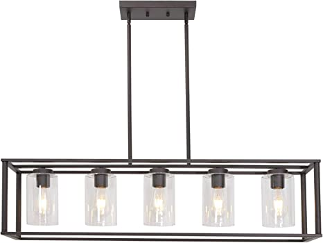 Vinluz 5 Light Kitchen Island Chandeliers Oil Rubbed Bronze Modern Linear Cage Pendant Lighting With Clear Glass Shades Farmhouse Ceiling Light Fixtures Hanging For Dining Room Living Room Amazon Com