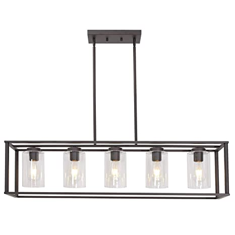 Vinluz 5 Light Kitchen Island Chandeliers Oil Rubbed Bronze Modern Linear Cage Pendant Lighting With Clear Glass Shades Farmhouse Ceiling Light