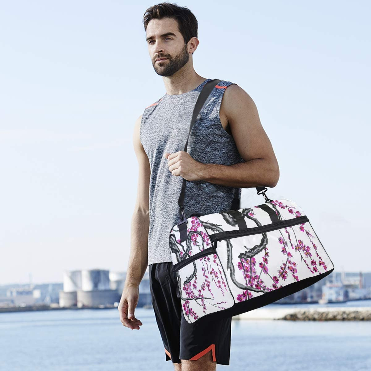 AHOMY Sakura Watercolor Sports Gym Bag with Shoes Compartment Travel Duffel Bag