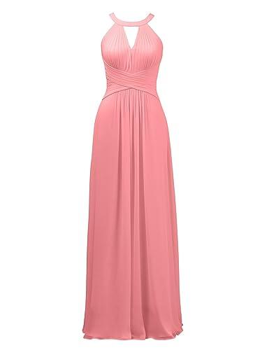 Alicepub Keyhole Bridesmaid Dress Long Formal Evening Prom Gown for Wedding Maxi
