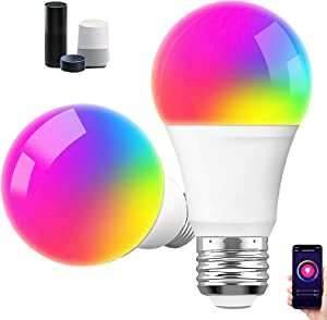 Smart Bulb, Smart Light Bulbs 2 Pack 800Lm E26 9W Dimmable Wi-Fi Colour Changing Light RGB Bulbs Work with Alexa, Google Home, Remote Control, Voice Control Garage Lights (Multi-Colored)