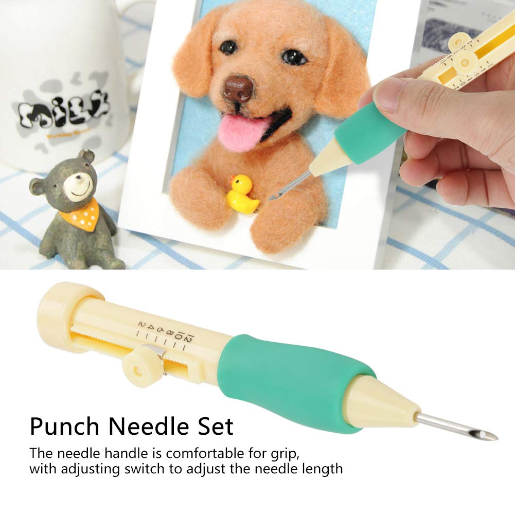 Yellow + Purple Embroidery Needle Punch Pen Sewing Threaders Tool Kit with 3 Sizes Needle for DIY Craft