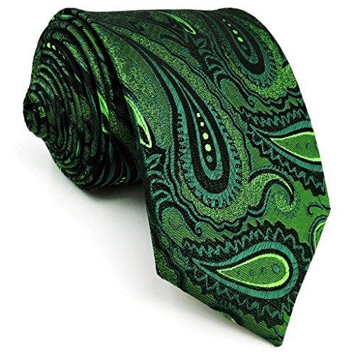 Shlax & Wing Long Size Mens Necktie Paisley Dark Green Silk Tie Wedding New Design Green Necktie