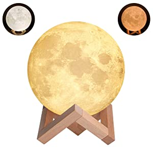 Night Light Lighting LED 3D Printing Warm Moon Lamp Touch Control Brightness Gift For Kids And Halloween equipment (3.9 Inch)