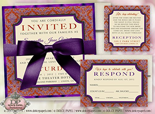 (10 Royal Prim Plum Red and Gold Double-Layered Square Wedding Invitations Set)