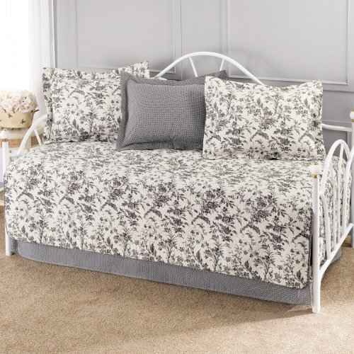 Laura Ashley Amberley 5-Piece Cotton Daybed/Quilt Set Twin (Twin Size Daybed Comforter Sets)
