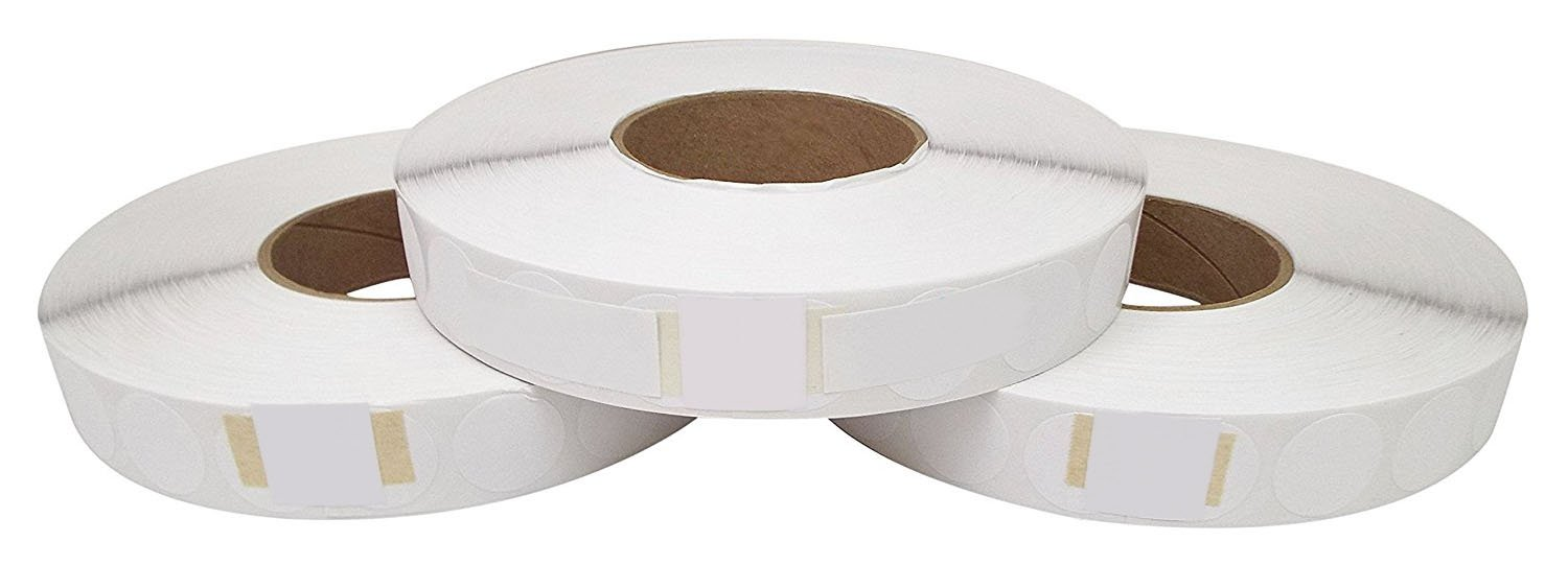 Preferred Mailing Supplies PPS3-5000WL 1'' Wafer Tab Seals (No Perf) 5000 Tabs Per Roll (3 Rolls Per Box) Save Big, USPS Approved, White