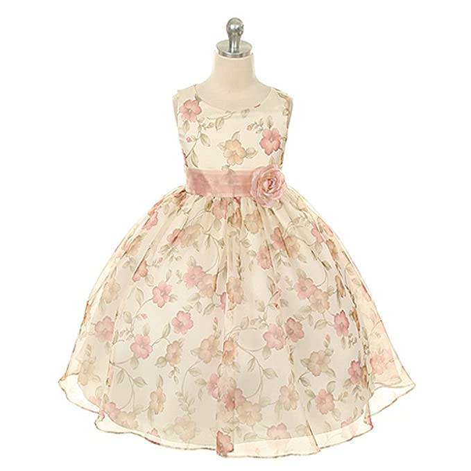 Amazon.com: Kids Dream Girls Organza Floral Special Occasion Dress ...