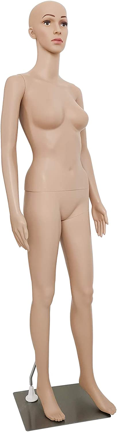 Metal Base Knocbel 69 Inch Full Body Realistic Female Mannequin Display Plastic Detachable Dress Form with Adjustable Head /& Arm Realistic Female Body