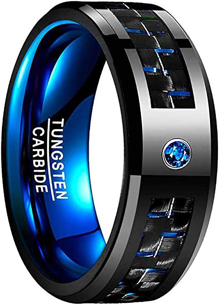 8MM Tungsten Carbide Wedding Band Blue Step Edges Brush Black Center Black Tungsten Band Hunting Ring Fishing Hooks Tungsten Ring