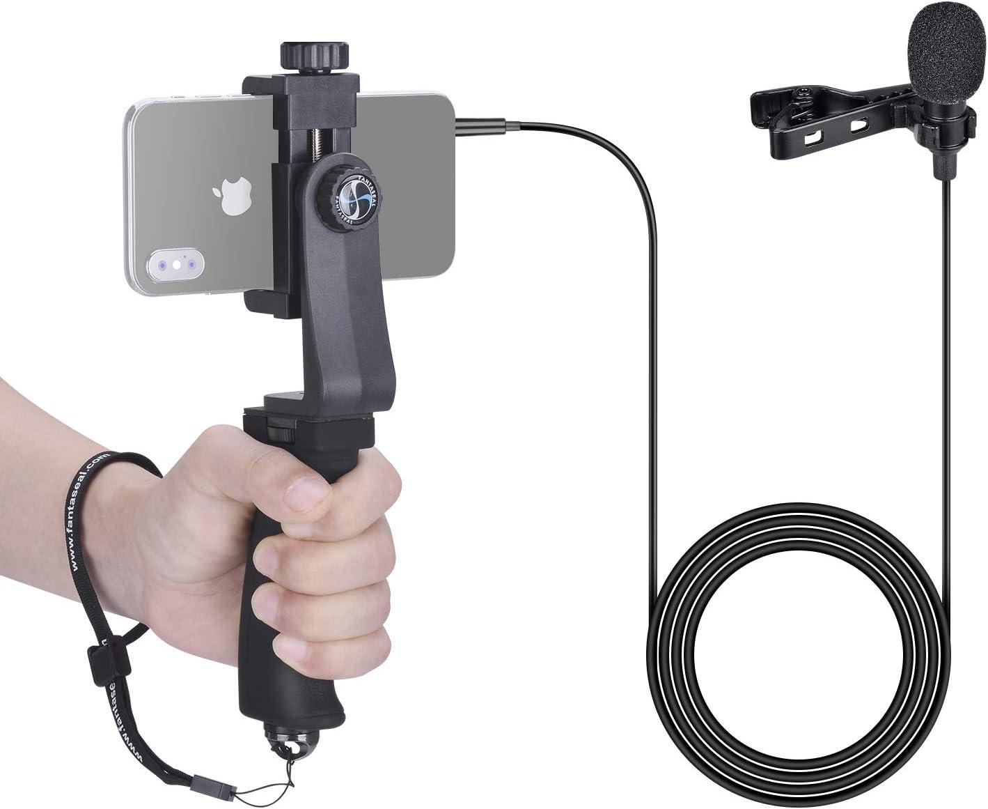 1.5m Cord 3.5mm Jack Smartphone V/ídeo Grabaci/ón Estabilizador Equipo,Micr/ófono de Solapa con Clip Micr/ófono de Solapa Soporte de Agarre Manual para iPhone Samsung YouTube Livestream Vlog Entrevista