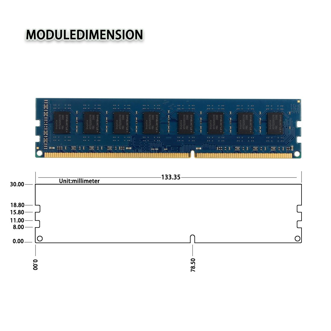 DUOMEIQI 8GB Kit (2 X 4GB) DDR3 1333MHz DIMM PC3-10600 PC3-10600U 2RX8 CL9  1 5v (240 PIN) Non-ECC Unbuffered Desktop Memory RAM Module Compatible with