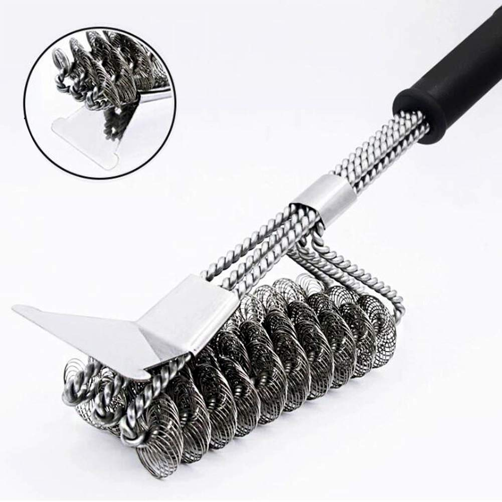 Grill Cleaning Brush, 304 Stainless Steel Triple Head Grill Brush And Scraper, Great for All Grill Types. BOYAN