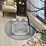 Outer Space Round Area Rug Supernatural Science Based Travel Journey to Planet Solar System Exploration ImageOriental Floor and Carpets Gray